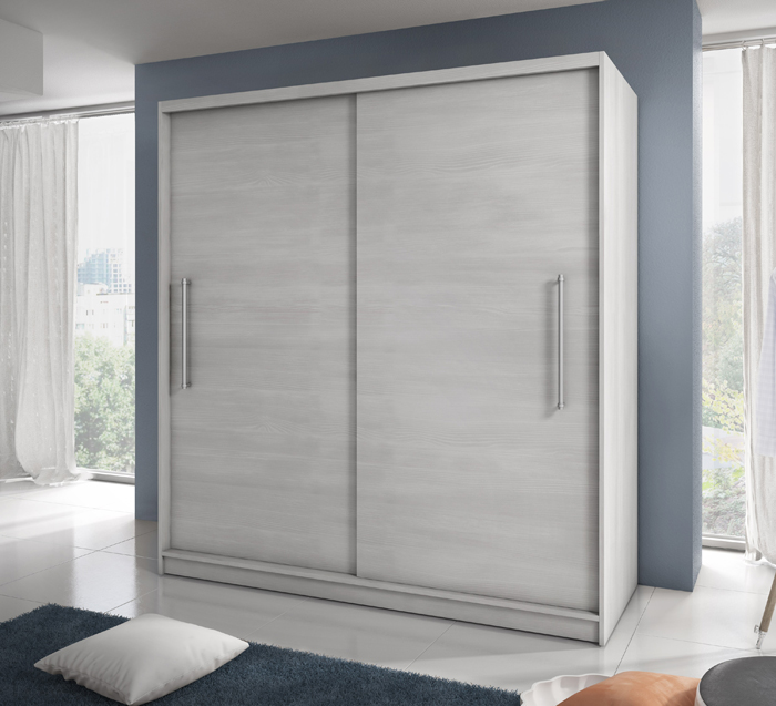 Wardrobe with Sliding Doors finished in Nordic White Pine - Mali & LuxHome Wardrobe with Sliding Doors in Nordic White Finish | 204cm ...